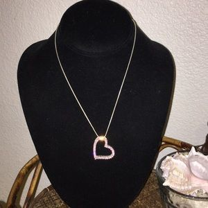 NORDSTROM Pink Rhinestone & Silver Heart Necklace